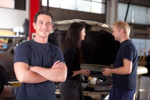 Auto Repair Shop Manager, Mechanic and Customer